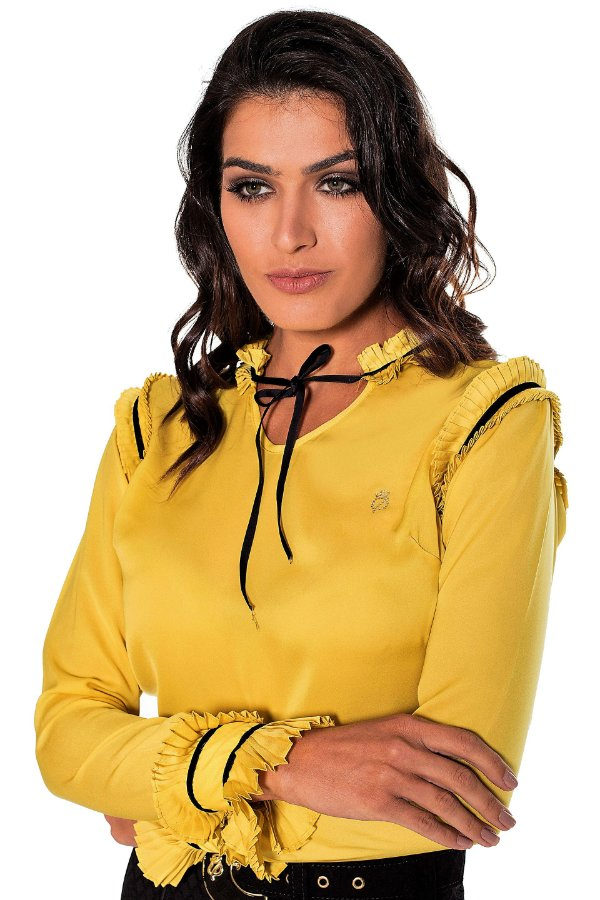 VT30718 - Camisa Plissada Amarelo - Via Tolentino