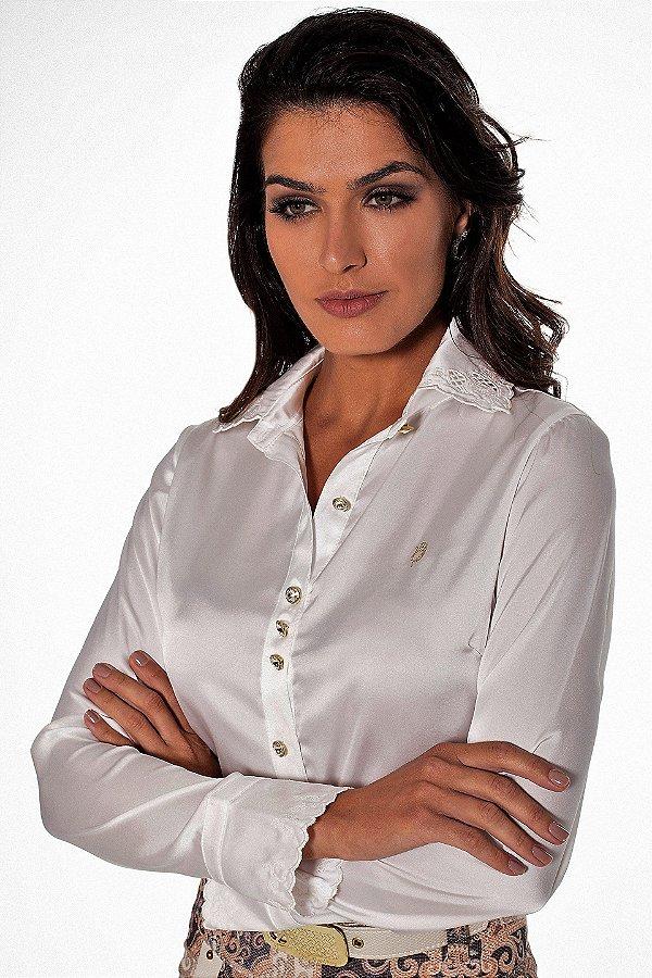 VT71206 - Camisa Romantica  Off White - Via Tolentino