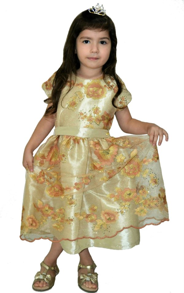 MS3019-Vestido Princesa Dourado - Miss Sweet