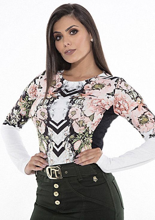 VT81028 Blusa com renda e estampa floral