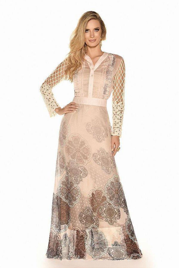 FC10222- Vestido estampado renda - Fasciniu's