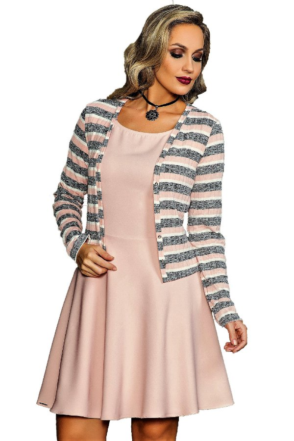 CR13174 Vestido com cardigan- Clara Rosa