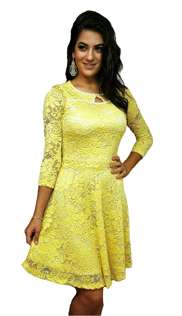 MC5061 - Vestido de Renda Amarelo - Mulata Café