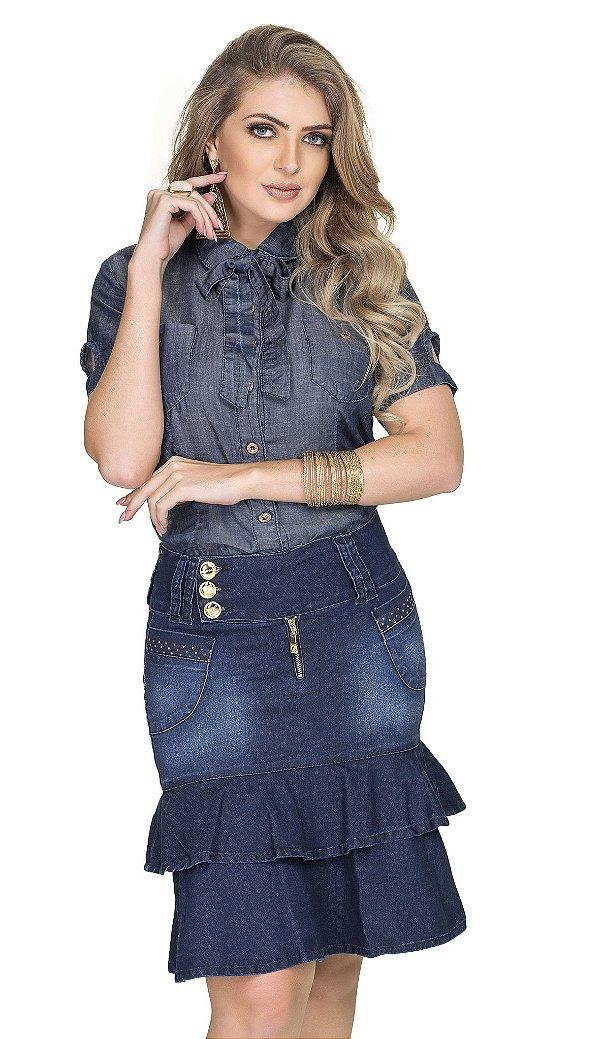 RW4118 - Saia Jeans Babado Duplo - Row-an