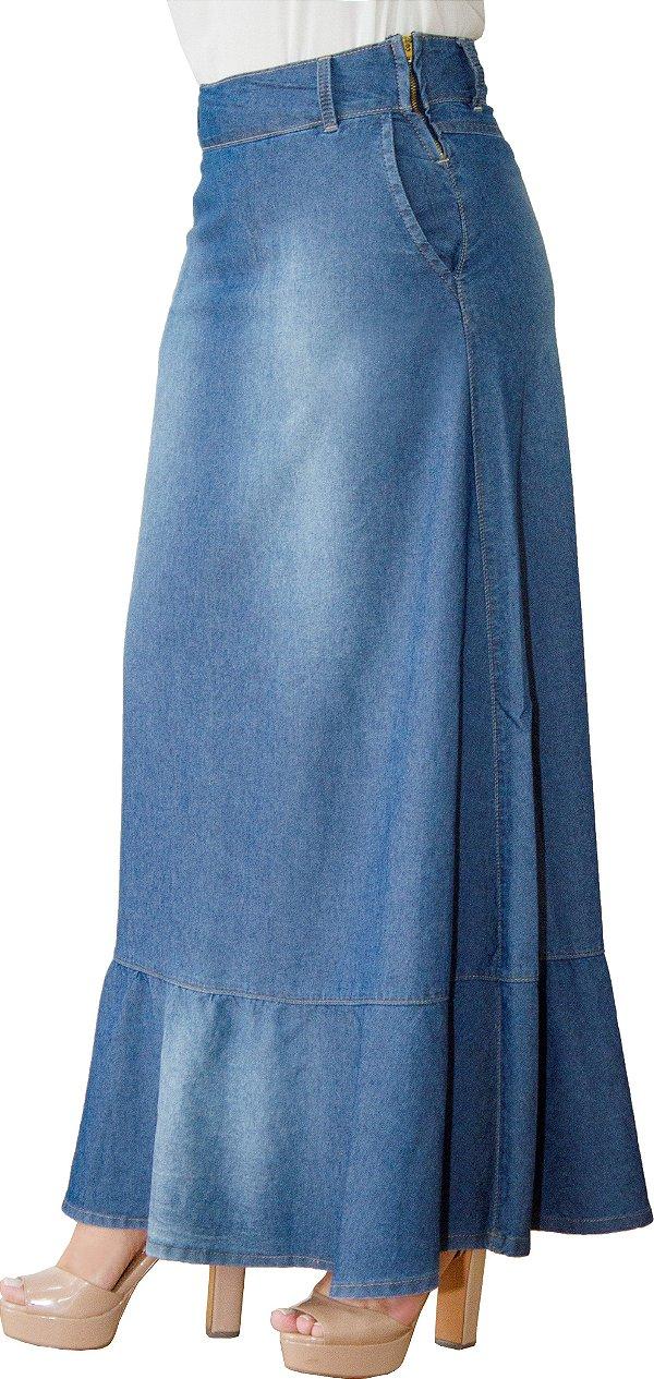 SR5014 - Saia Longa Jeans Moda Evangélica