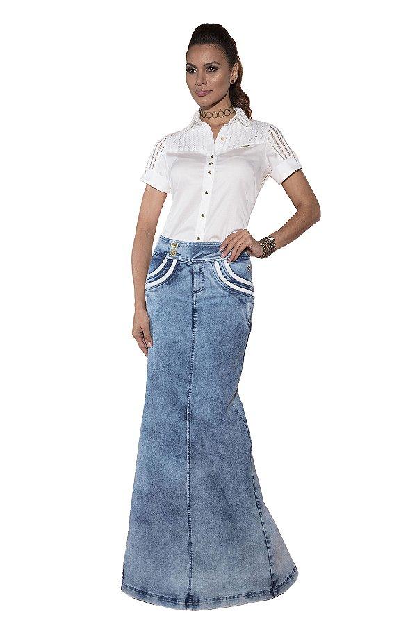 VT102620 - Saia Longa com Fenda Jeans - Via Tolentino