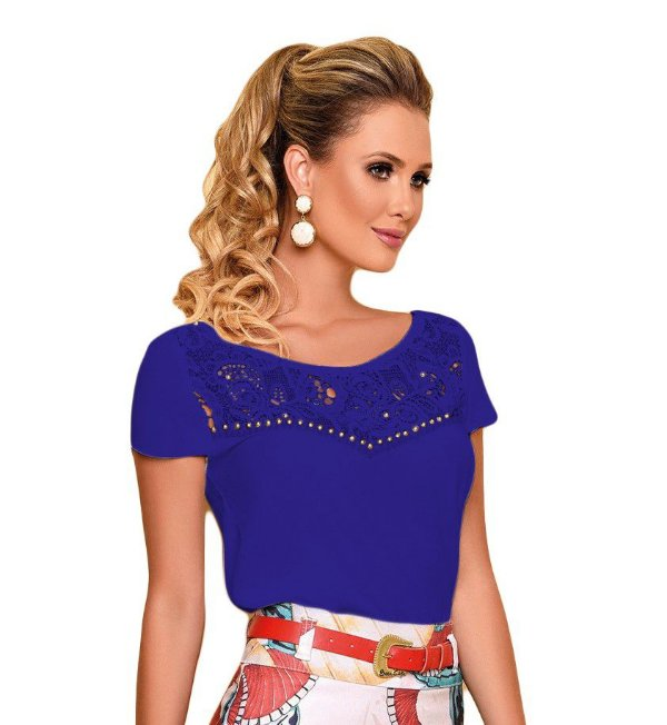 BC7322 - Blusa Renda Com Bordado - Base Café