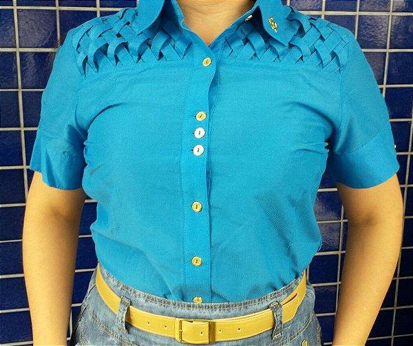 VT71008 - Camisa detalhe Entrelaçado  - Via Tolentino