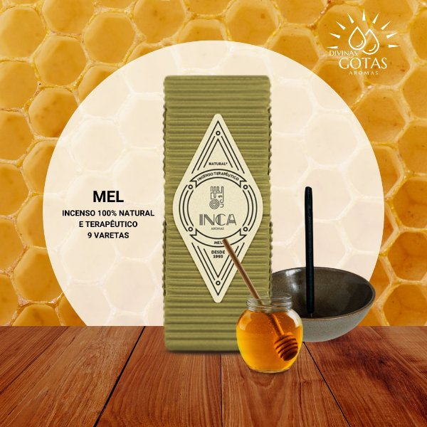 Incenso Terapêutico Mel (caixa 9 Varetas) Inca Aromas