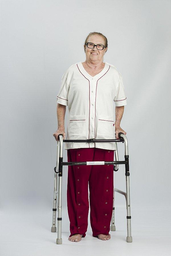 BLUSA MANGA CURTA PIJAMA FREEDA&inFINITO - para acamados e pessoas com mobilidade reduzida