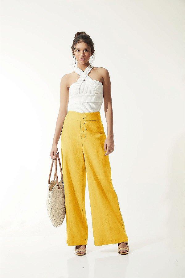Calça Pantalona Amarela