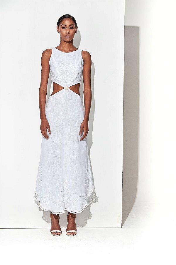 Vestido Longo Recorte Branco