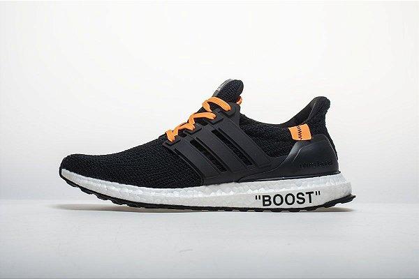 Tênis Adidas Ultraboost 4.0 - Masculino - Preto e Laranja - Os ... e6f163cdd15b3