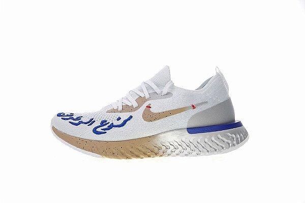 c5b7fd92 Tênis Nike Epic React Flyknit - Feminino - Branco e dourado - Os ...