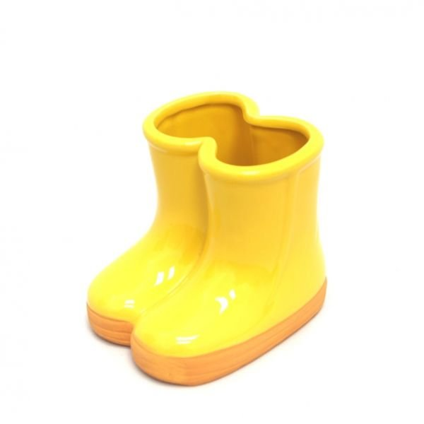 Vaso Botinha De Cerâmica Amarelo - 01 unidade
