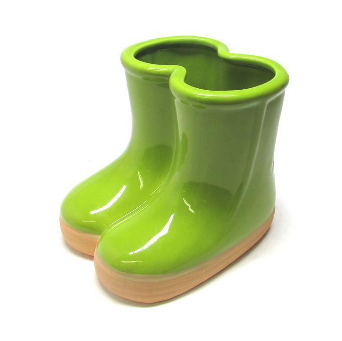 Vaso Botinha De Cerâmica Verde - 01 unidade