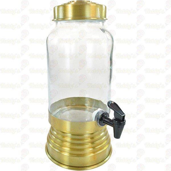 Suqueira de Vidro -  Dourado - 01 unidade
