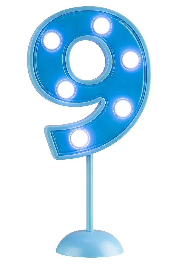 Velas de Led Número 9 - Azul - 01 unidade