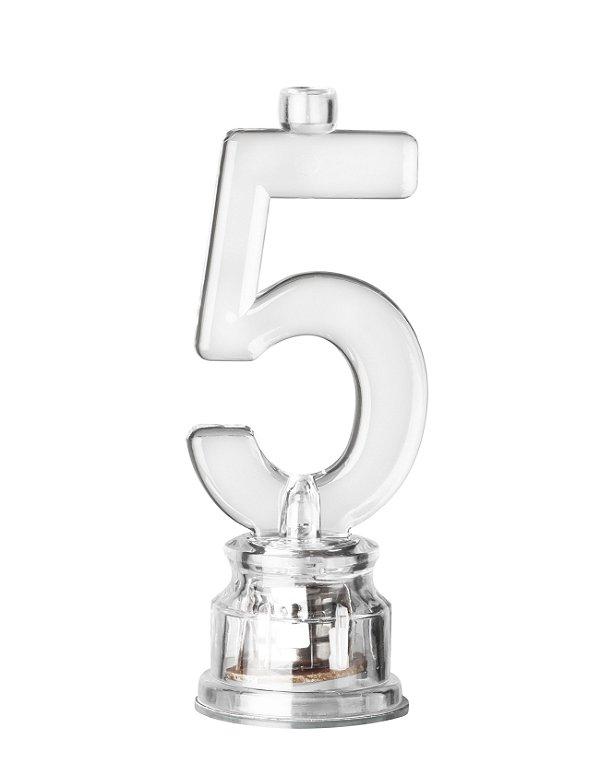 Velas de Led Número 5 Com Suporte - Transparente - 01 unidade