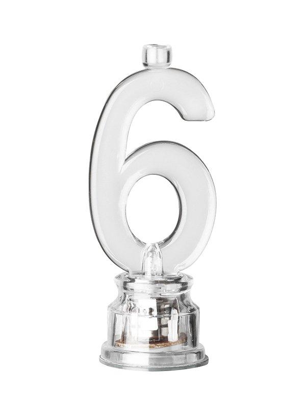 Velas de Led Número 6 Com Suporte - Transparente - 01 unidade