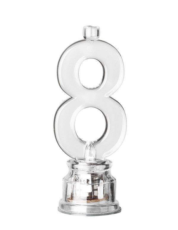 Velas de Led Número 8 Com Suporte - Transparente - 01 unidade