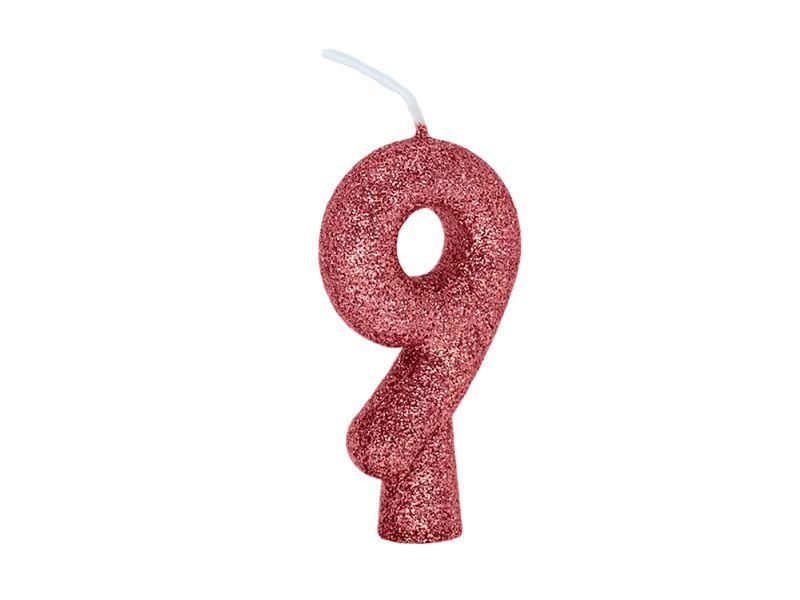 Vela Número 9 - Rose Gold - 01 unidade