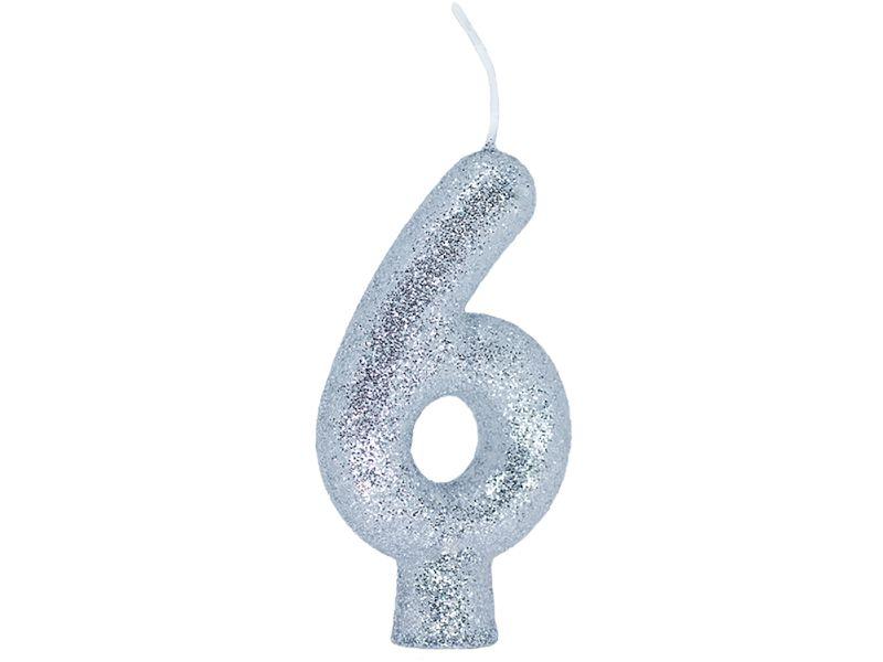 Vela Número 6 - Prata - 01 unidade