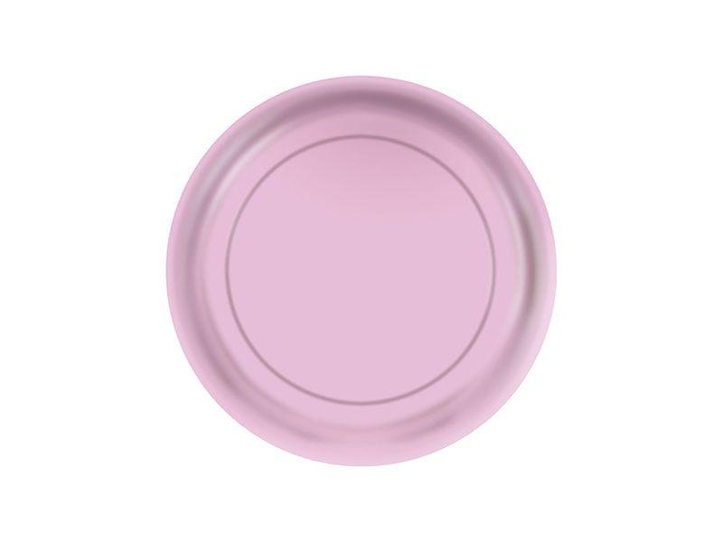 Prato de Papel - Rosa Bebê - Pacote com 8 Unidades