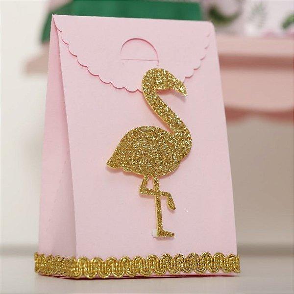 Aplique EVA Glitter Dourado 7cm - Flamingo / Tropical - 09 unidades