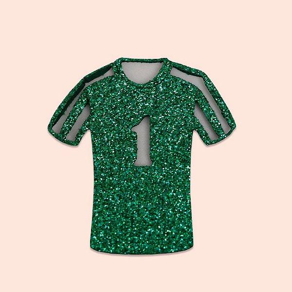 Aplique EVA Glitter Verde 5cm - Camisa de Time de Futebol Número 1- 06 unidades