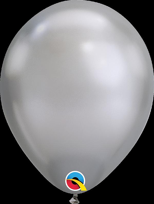 Balão de 11 Polegadas Prata Cromado Qualatex - 05 unidades - Kit Teddys