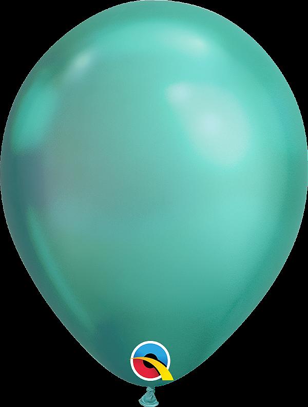 Balão de 11 Polegadas Verde Cromado - 05 unidades - Kit Teddys