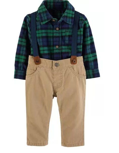 Conjunto Carter's 3 Peças Camisa Xadrez, Calça e Suspensório