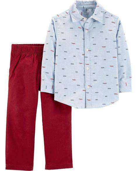 Conjunto Carter's 2 Peças Camisa Botão e Calça Canvas