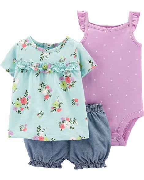 Conjunto Carter's 3 Peças Vestido, Body e Short Floridos