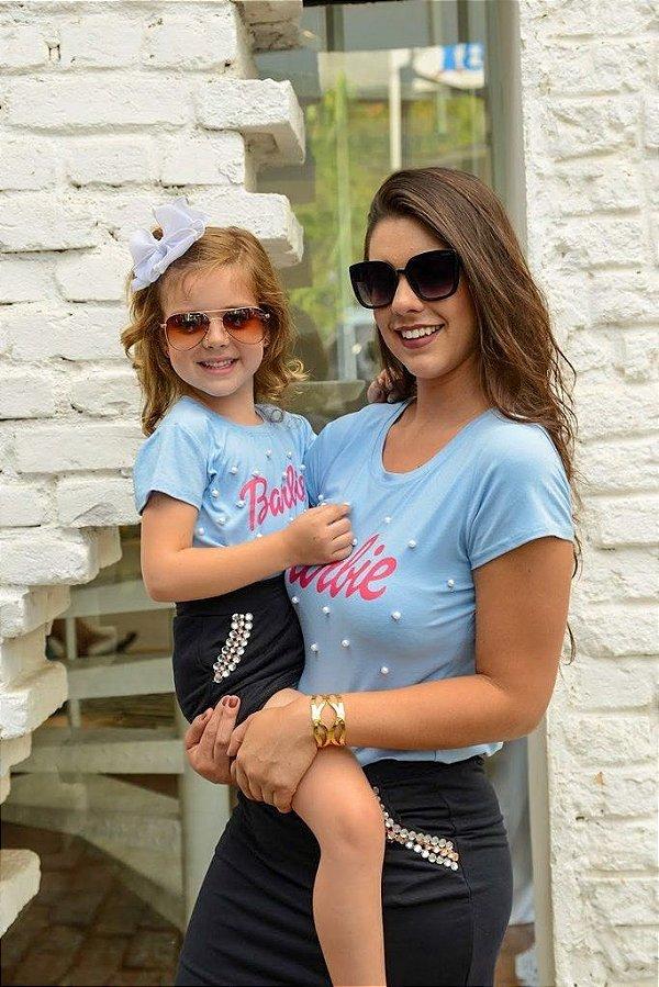 T-shirts Mãe e Filha Barbie Azul