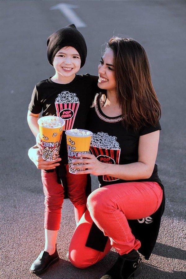 T-shirts Mãe e Filho Pop Corn Preta