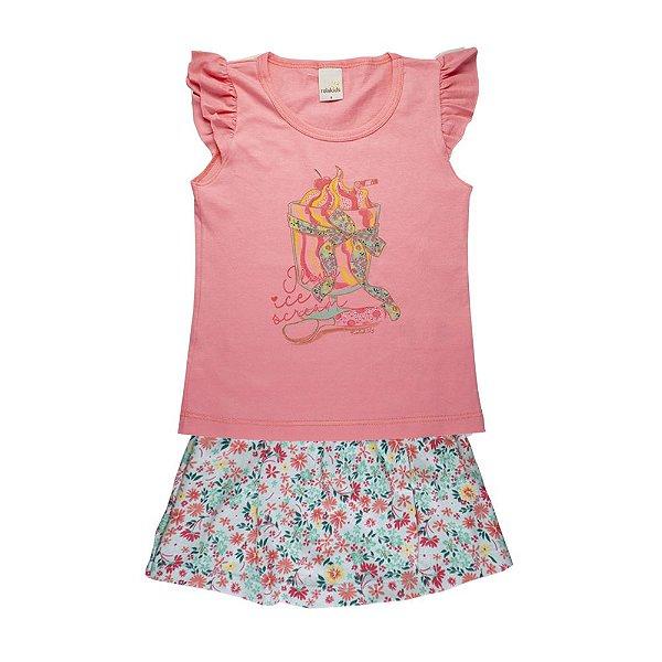 Conjunto Blusa e Saia Cupcake Infantil Menina Rosa