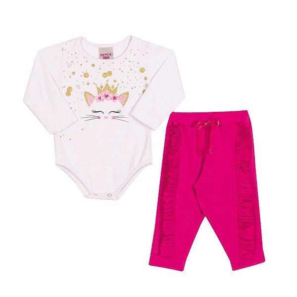 Conjunto Body e Calça Gatinha Infantil Menina Branco