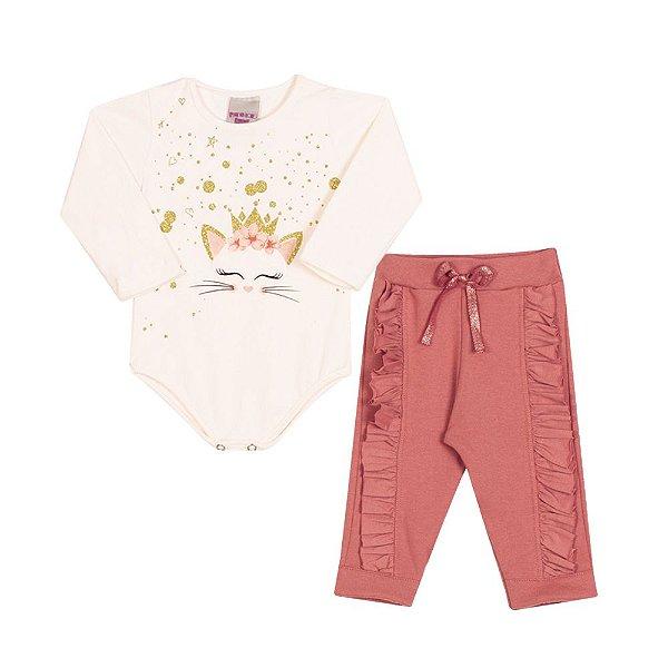 Conjunto Body e Calça Gatinha Infantil Menina Marfim