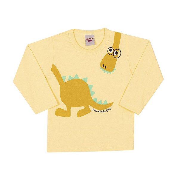 4aba69ed9 Camiseta Manga Longa Dinossauro Infantil Menino Amarelo - Dinda Kids