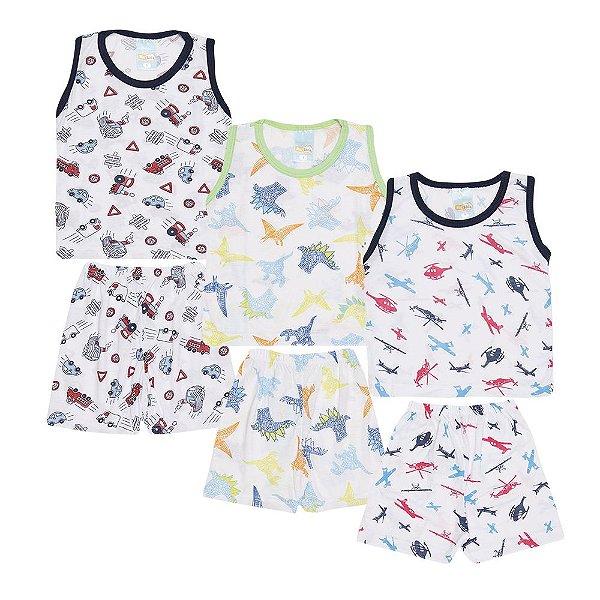Kit 3 Pijamas Carrinhos Aviões e Dinossauro Infantil Menino