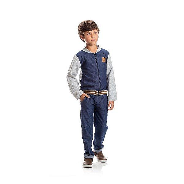 Conjunto Jaqueta Moletom e Jeans Infantil de Menino