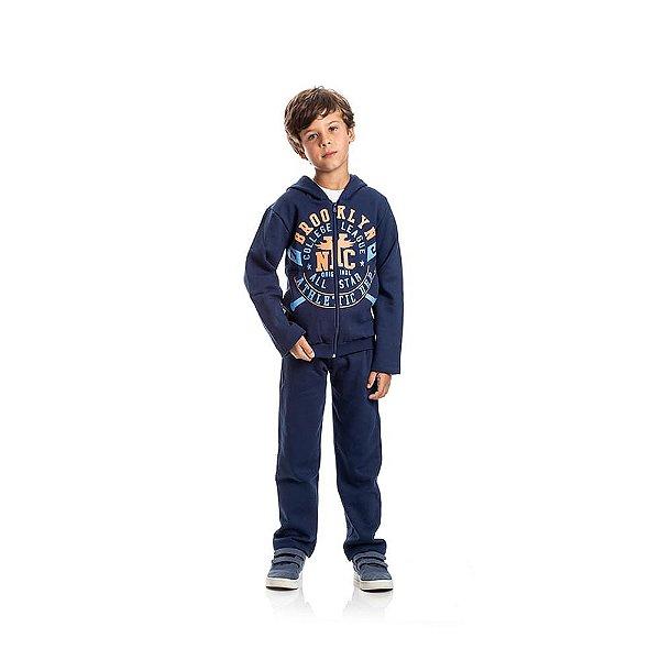 Jaqueta de Moletom Brooklyn Infantil Menino Azul