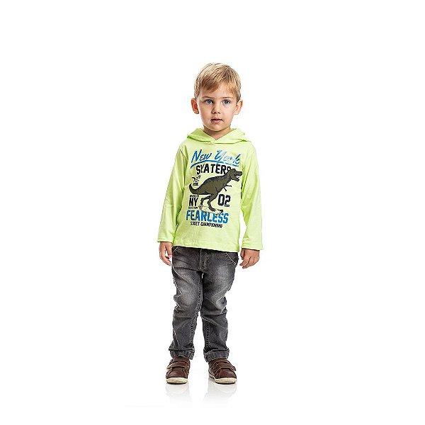 Camiseta com Capuz Dinossauro Infantil Menino