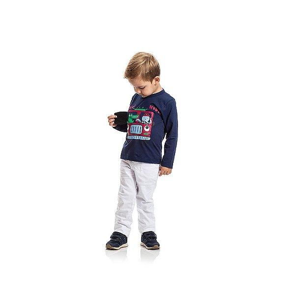 Camiseta Manga Longa Polvo e Jacaré Infantil Menino Azul Escuro