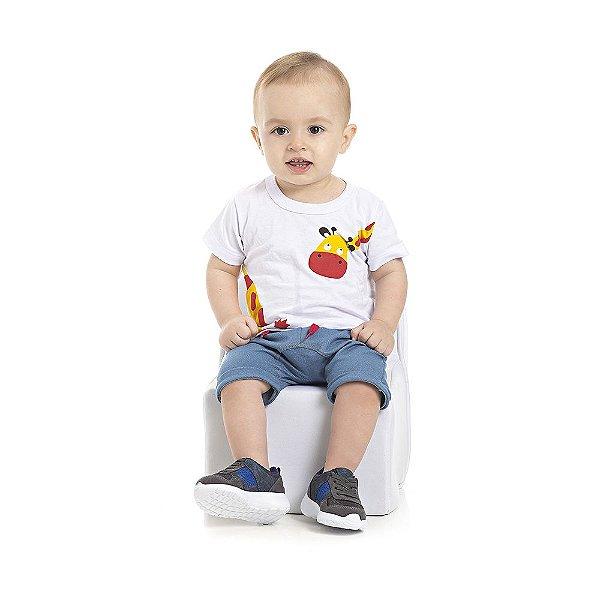Conjunto Camiseta e Bermuda Saruel Infantil Menino Branco