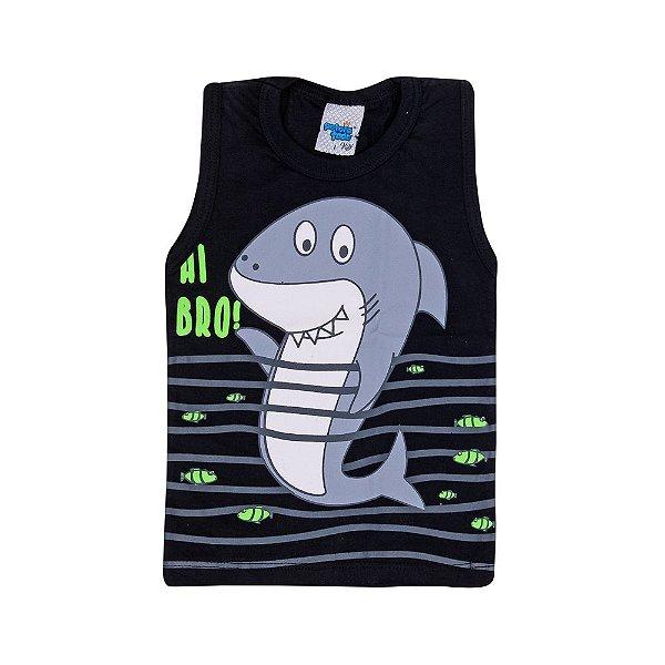 Regata Tubarão Infantil Menino Preto