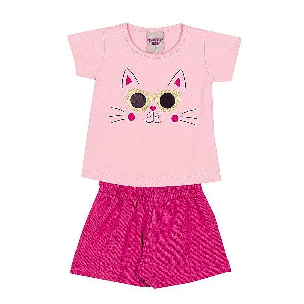Conjunto Blusa e Short Gatinho Infantil Menina Rosa
