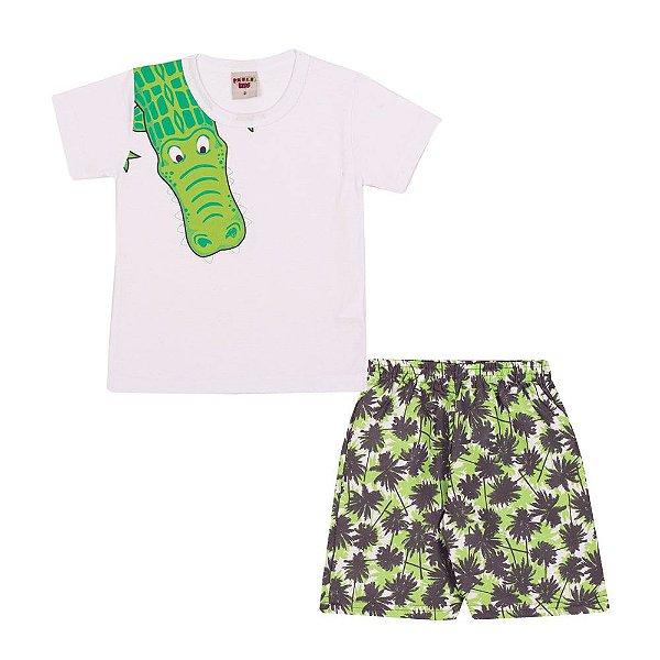 Conjunto camiseta Jacaré e Bermuda Infantil Menino Branco